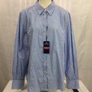 Chaps XXL Poplin Stretch Stripe Button Shirt New